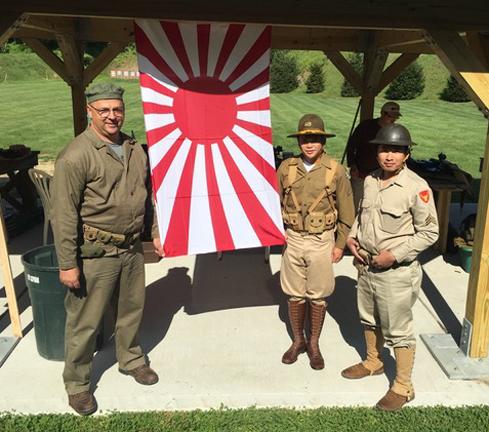 Re-enactors by Japanese Flag